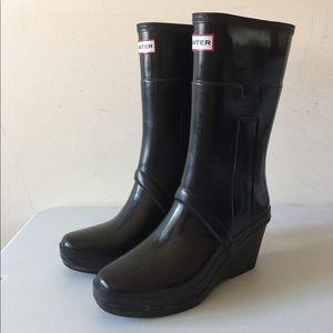 Hunter wedge black rain boots women 7